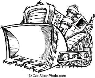 doodle, skitse, vektor, kunst, bulldozer