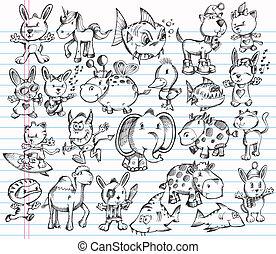 doodle, skitse, vektor, sæt, dyr