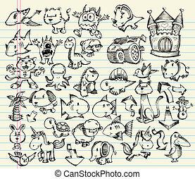 doodle, skitse, vektor, sæt