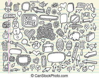 doodle, skitse, vektor, sæt, notesbog