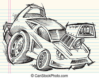 doodle, skitse, vektor, vogn gade