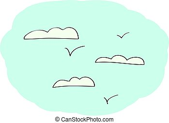 Doodle Sky with clouds. Vector background
