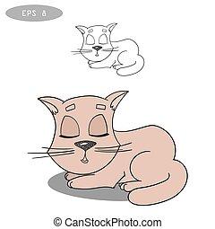 doodle sleepy cat