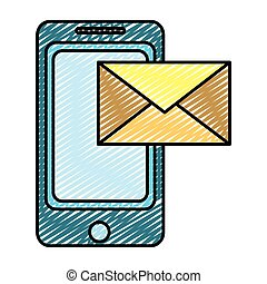 doodle smartphone technology with electronic e-mail message