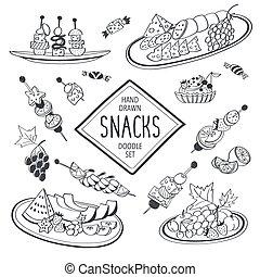 Doodle snacks - Buffet snacks doodle set. Hand drawn food...
