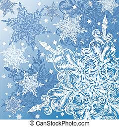 Doodle snowflake christmas background
