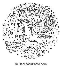 doodle, sonho, unicórnio