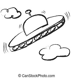 doodle space flying saucer, ufo