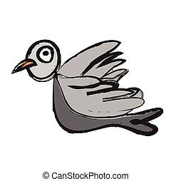 doodle sparrow in flight, vector