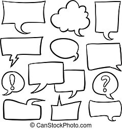 Doodle speech bubble style set