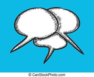 doodle speech bubble, vector