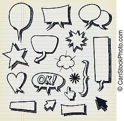 Doodle Speech Bubbles And Elements Set