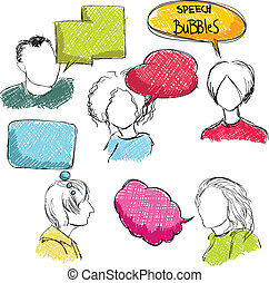 Doodle speech bubbles with men and women