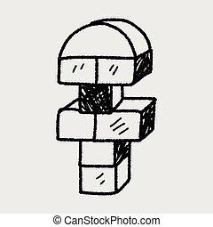doodle, speelbal, blok