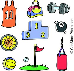 Doodle sport equipment colorful style