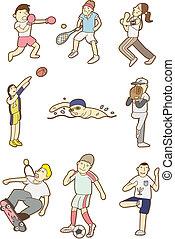 doodle, sportende, mensen