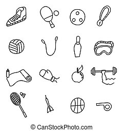 Doodle sports icons set. Vector illustration.