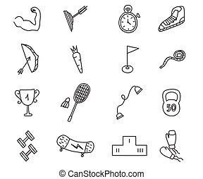 Doodle sports icons set. Vector illustration.