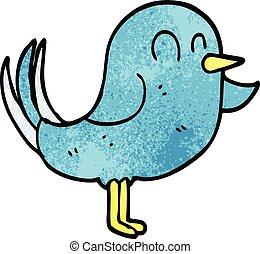 doodle, spotprent, wijzende, vogel