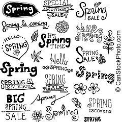 Doodle Spring Vector Set.
