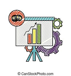 doodle statistics bar growing presentation with gears