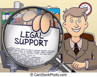 doodle, steun, wettelijk, door, magnifier., concept.