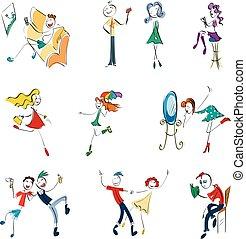 Doodle stickman collection. Illustration concept set.