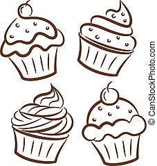 doodle, stijl, cupcake, pictogram