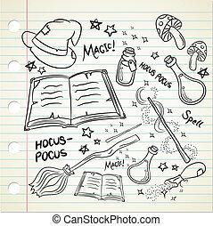 doodle, stijl, set, magisch, farceren