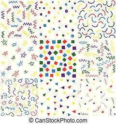 doodle, stram, hånd, seamless, mønstre