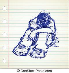 doodle, stress, mensen