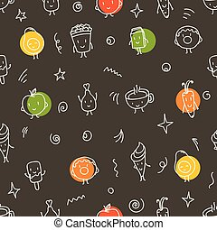 Doodle style color food seamless vector pattern
