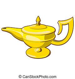 aladdin's lamp - Doodle style genie aladdin's lamp vector...