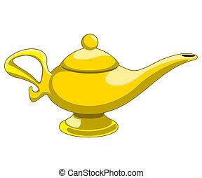 aladdin's lamp - Doodle style genie aladdin's lamp vector ...