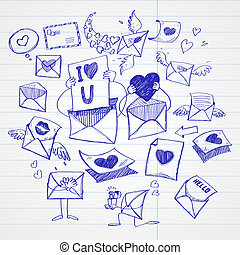 Doodle style mail, message, or envelope