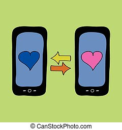 Doodle style phones with love talk