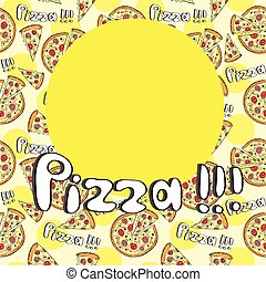 Doodle style pizza seamless cover fore menu - vector...