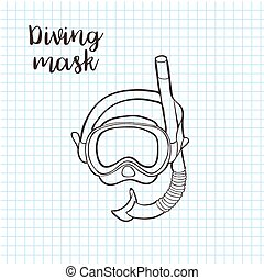 Doodle style snorkeling equipment in vector format including snorkel and mask