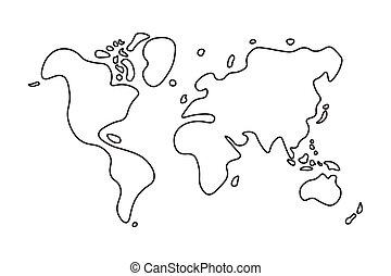 Doodle style world map .