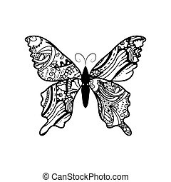Doodle stylized black Butterfly. Hand Drawn vector illustration isolated on white background.