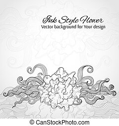 Doodle stylized flower. Abstract vector background for Your design