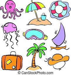 Doodle summer holiday cartoon style