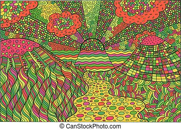 Doodle surreal landscape. Fantastic colorful psychedelic graphic