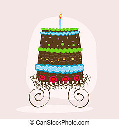cake - doodle sweet cake with candle