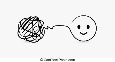 Doodle symbol of difficult and complex task, clew of thread...