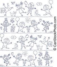 doodle., szeret, gyerekek, rajz, kölyök, karikatúra, boldog