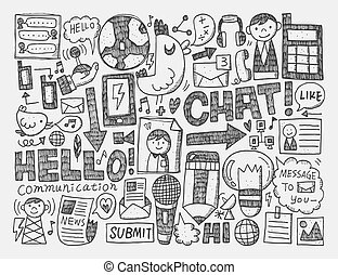 doodle, tło, komunikacja