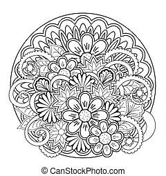 doodle tangle flower and mandalas - Monochrome mandalas and ...