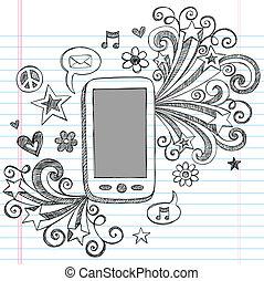 doodle, telefone pilha, vetorial, desenho, pda