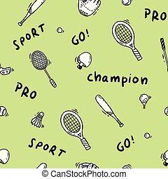 doodle, tema, desporto, seamless, fundo